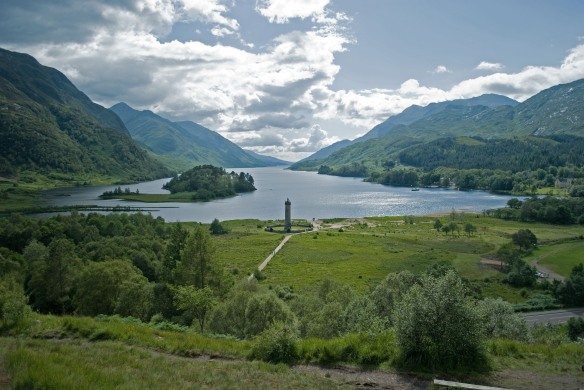Loch Shiel with the Glenfinnan monument in foreground