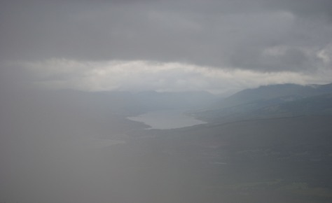 A cloudy view of Fort William from Aonach Mor