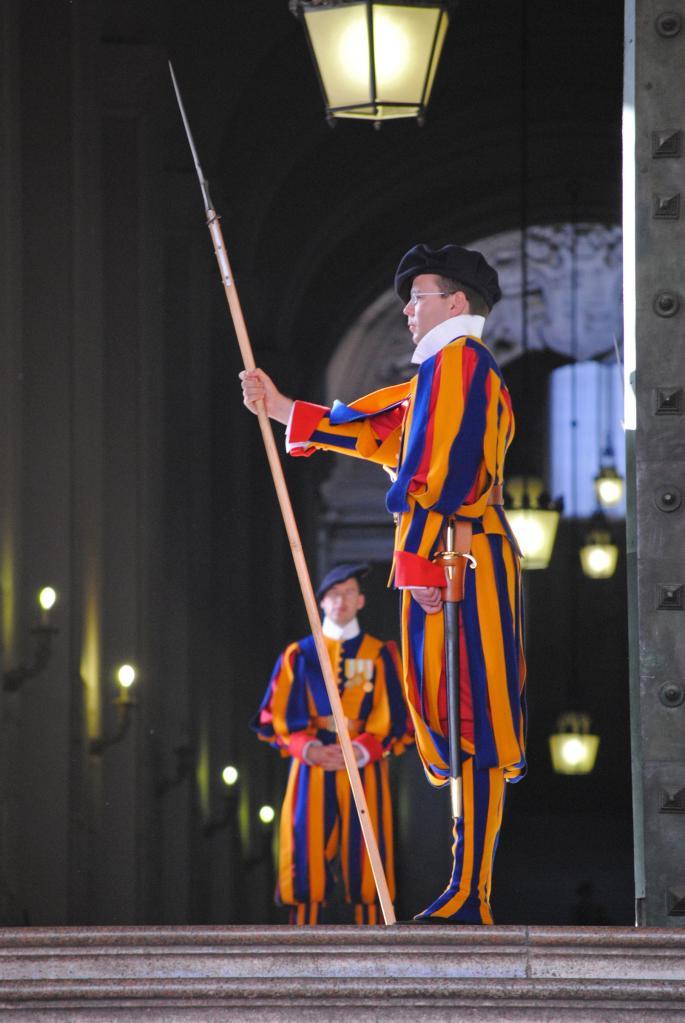 The Vatican - Swiss Guards.  Very smart!!