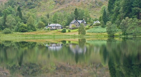 A reflective view across Loch Arklet