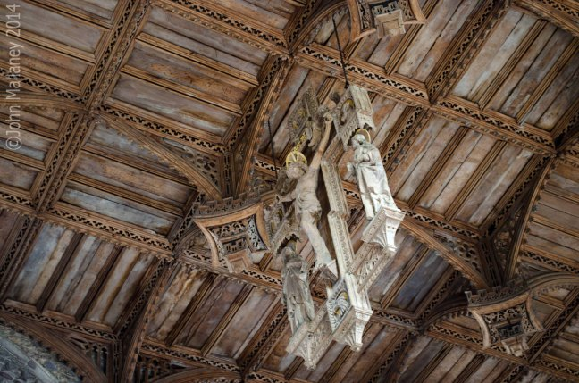 Intricate wooden ceiling in the nave